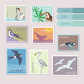 Wild birds on the bright stamp Royalty Free Stock Photo