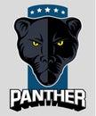 Wild black panther vector logo.
