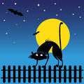 Wild black silhouette cat vector illustration Stock Images
