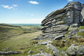 Wild british landscape rugged terrain dartmoor national park Stock Images