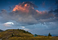 Wild camp in mountains at sunset. Royalty Free Stock Photo