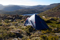 Wild camping tasmania a tent pitched in the mountains of mt field national park in Royalty Free Stock Photography