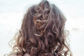 Wild curly blonde tangled hair of a toddler view from the back of the head – Kids with Curly Hair Maintenance and Grooming Royalty Free Stock Photo
