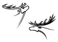Wild deer mascots in tribal style for tattoo or another design Royalty Free Stock Images