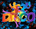 Wild disco dancers and modern dancing silhouettes on the grunge background Stock Photography