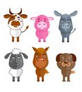 Wild and domestic animal icons set cartoon characters of cow donkey sheep horse isolated vector illustration Stock Photos