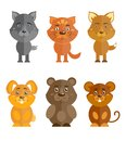 Wild and domestic animal icons set cartoon characters of wolf cat fox bear isolated vector illustration Royalty Free Stock Photos