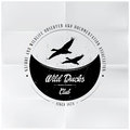 Wild ducks club badge editable eps flying Stock Photos