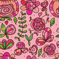 Wild flower isolated pink rain seamless pattern Royalty Free Stock Photo