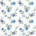 Wild flowers watercolor compositions. Seamless pattern.