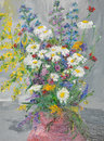 Wild flwoers in vase oil painting illustrating colorful flowers bouquet a on grey background Royalty Free Stock Images