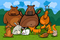 Wild forest animals group cartoon illustration Stock Photos