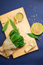 Wild garlic leaves pesto ingredients Royalty Free Stock Image