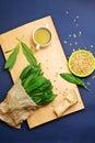 Wild garlic leaves pesto ingredients Royalty Free Stock Photo