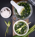 Wild garlic pesto fresh on a slate Royalty Free Stock Photos
