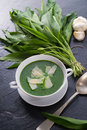 Wild garlic soup with parmesan a Stock Photo