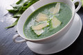 Wild garlic soup with parmesan a Royalty Free Stock Photos
