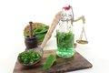 Wild garlic tincture in a bottle with spoon on light background Royalty Free Stock Photography
