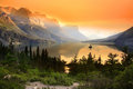 Wild goose island on saint mary lake in glacier national park montana Royalty Free Stock Photos