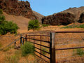 Wild horse trap a box canyon and corral are used to capture horses or range cattle Royalty Free Stock Photo