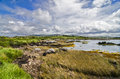 Wild lake landscape in connemara with a and meadow ireland Royalty Free Stock Photography