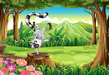 A wild lemur at the forest illustration of Royalty Free Stock Image