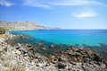 Wild mediterranean coast with azure sea, Rhodes Island - Greece Royalty Free Stock Photo