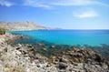Wild mediterranean coast rhodes island greece scenic view of Royalty Free Stock Photo