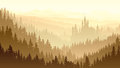 Wild misty wood with castle vector illustration of coniferous forest in morning fog fairytale Stock Photo
