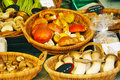 Wild mushrooms in switzerland a variety of forest on a market stall basel Royalty Free Stock Photography