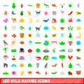 100 wild nature icons set, cartoon style