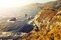 Wild ocean coastline big sur california usa rocky in soft focus filtered style Stock Photo