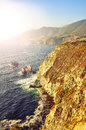 Wild ocean coastline big sur california usa rocky in soft focus filtered style Stock Images