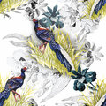 Wild Pheasant animals birds in watercolor floral seamless pattern Royalty Free Stock Photo
