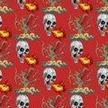 Wild predator tree and skull breathing fire seamless pattern Royalty Free Stock Photo