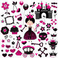 Wild princess set fashion style with castle and other cute elements in black and pink Stock Image