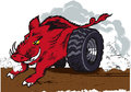 Wild racing hog a with wheels Stock Images