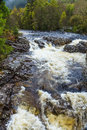 Wild river with fall floating through a forest Royalty Free Stock Photo