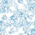 Wild roses plant with flowers in blue ink. Hand drawn vector etch style seamless surface pattern. Buds, leaves, stems on