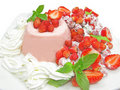 Wild strawberry dessert with pudding Royalty Free Stock Photo