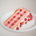 Wild strawberry layer cake was prepared with sponge cream whipped cream and between layers put Stock Photography