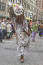 Wild thing on parade asheville north carolina usa march a yound woman in a mardi gras hams it up in a children s book monster Stock Images