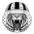 Wild tiger Wild animal wearing rugby helmet Sport illustration