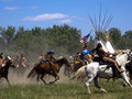 Wild warriors crow agency montana usa – june reenactment by cavalry soldiers and american indians of battle of the little Royalty Free Stock Photography