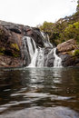 Wild waterfall in horton plains national park sri lanka Royalty Free Stock Images