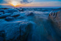 Wild waters long exposure photo taken from ohtakari finland Royalty Free Stock Image