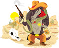Wild west armadillo a rough and tough sheriff with pet rattlesnake Stock Photography