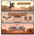 Wild West Banner Set Royalty Free Stock Photo