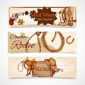 Wild west banners cowboy rodeo feel freedom colored set vector illustration Royalty Free Stock Image