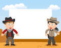 Wild west cowboys photoframe photo frame post card or page for your scrapbook subject two cartoon cowboy kids boy and girl in a Royalty Free Stock Photos